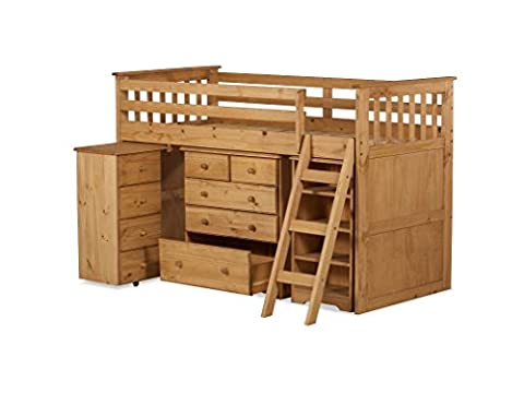 3'0 Mid Sleeper with 3+2 Chest. Desk, 4 Drawers, Bookcase