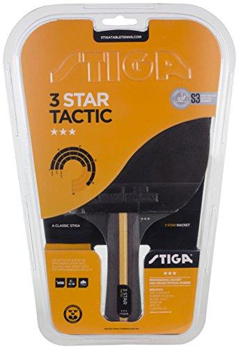 Stiga 3-Star Tactic, Concave Racchetta da Ping Pong, Nero/Rosso, Taglia Unica