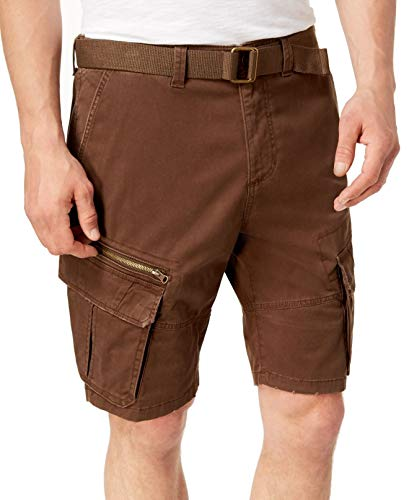 American Rag Mens Solid Bear Straight Belted Cargo Shorts -