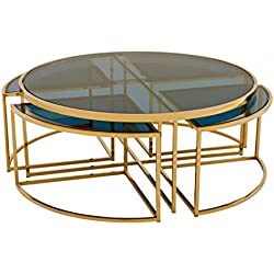 Casa-Padrino Art Deco Luxury Coffee Table Gold Finish - Living Room Coffee Table - Luxury Quality