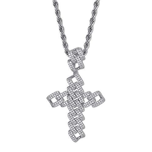 Out Kette Strass Zirkon Kreuz Anhänger Halskette kubanische Gliederkette Schmuck Geschenk,Silver ()