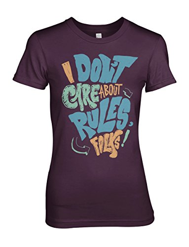 I Don't Care About Rules Folks Damen T-Shirt Lila