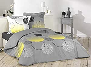 Loreto - A Quality Linen Brand 144 TC 100% Cotton Double Bedsheet with 2 Pillow Covers - Grey, Lemon Yellow