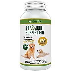 Suplemento avanzado para perros cadera y articulaciones 120 cápsulas Glucosamina HCL, Condroitina, MSM, Vitamina C y ácido Hialurónico - Hecho en el Reino Unido. PetAmazed mejor alivio del dolor na
