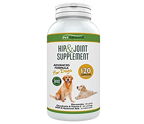 PetAmazed Hip & Joint Supplement for Dogs - Best Arthritis Pain Relief – Advanced Natural Formaula Contains: Glucosamine HCL, Chondroitin, MSM, Vitamin C & Hyaluronic Acid - Made in UK to Reduce Stiffness & Improve Mobility of Joints & Hip Dysplasia – 120 Capsules