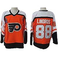 Yajun Eric Lindros#88 Philadelphia Flyers Camisetas Hockey Jersey sobre Hielo NHL Hombre Ropa Respirable T-Shirt de Manga Larga,Orange,3XL