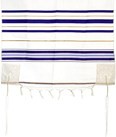 Acrylic Tallit Prayer Shawl with Tzitzit, Blue and Gold Stripes, 170 x 120 centimetres