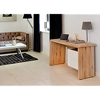 Amazon Brand - Movian Maggiore 2-Drawer Desk,  130 x 50 x 75 cm, Light Brown Oak-Effect with White Drawers
