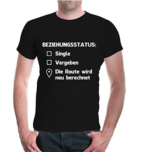 T-Shirt Beziehungsstatus: Singel, vergeben, Route wird neu berechnet-L-Black-White
