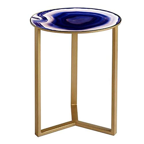Axdwfd Petite Table Basse Simple En Fer Forgé Côté Verre Salon Chambre Petite Table Ronde Table Vase 19 × 19 × 24 Pouces Table De Vase