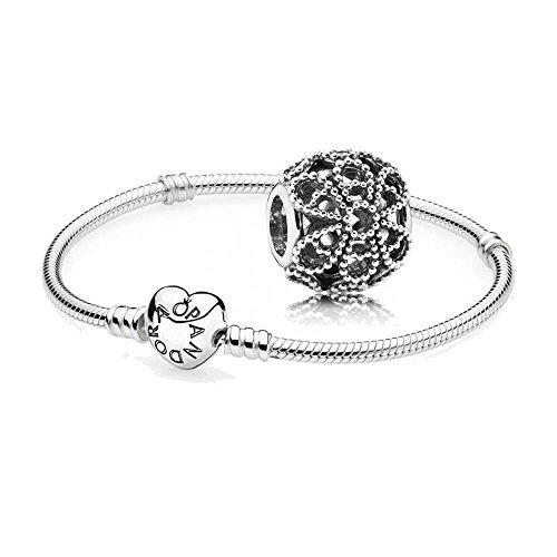 Original-Pandora-Geschenkset-1-Silber-Armband-mit-Herz-Schliee-590719-und-1-Silber-Charm-Rosen-791282