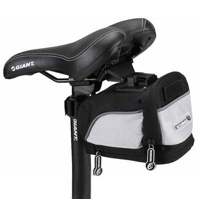 wortek Fahrrad Satteltasche (15cm x 9,5cm x 9,5cm) inkl. Halterung Roswheel schwarz/silber