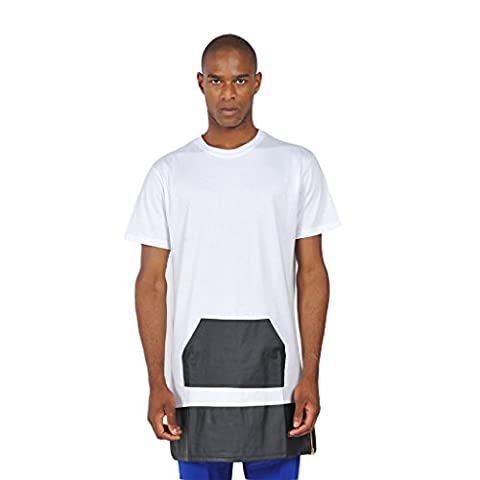 Pizoff Unisex Hip Hop Hipster Leather Pached Luxury Side Zip Long T Shirts Y0439--White--XXL