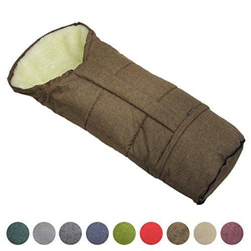 BAMBINIWELT Winterfusssack in Mumienform für Kinderwagen, Jogger, Buggy oder Schlitten, aus Wolle, Größe anpassbar, MUMIE MELIERT (braun)