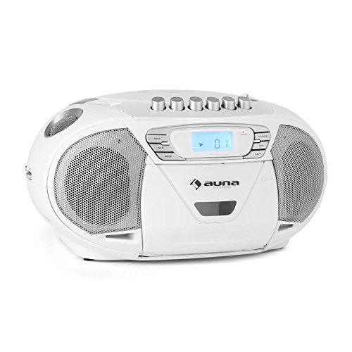 auna KrissKross  CD-Radio  Boombox  Radio  CD- / MP3-Player  Kassettendeck  MP3-fähiger USB-Port  UKW-Radiotuner  AUX-Eingang zum Anschluss externer Audiogeräte  LCD-Display  Wiedergabeprogrammierung  Netz- / Batterie-Betrieb  tragbar  weiß