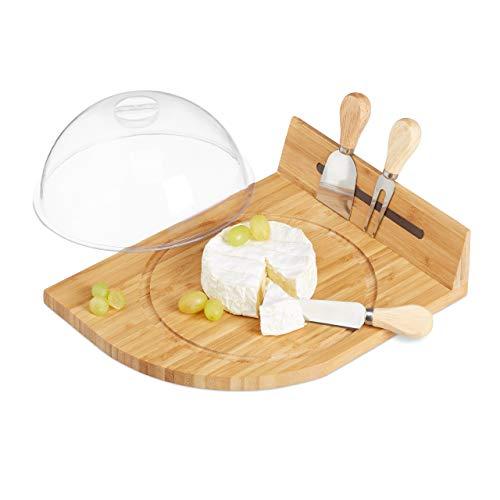 Relaxdays formaggiera in bambù, porta magnetico, coltello o forchetta da formaggio, legno naturale, 11 x 31 x 25 cm