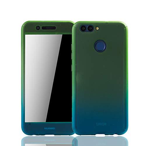 König Design Schutz-Case geeignet für Huawei Nova 2 Hülle mit Panzerglas | Sturzsichere Full Cover Handyhülle in Grün/Blau