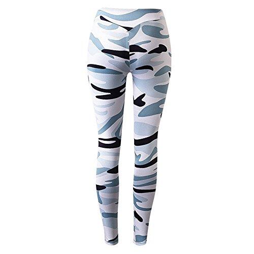 laamei 1pc Camouflage Legging Femme Sport Pantalon Athletic Gym Fitness Elastique Pantalon Slim Sechage Rapide Yoga Pants Camouflage blanc