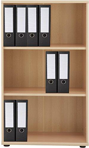 VCM Regal Büroregal Bücherregal Aktenregal Ordnerregal Schrank Büromöbel Omegos 2 Breite 65 cm, Buche