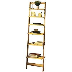 Moderna estantería en escalera de madera–Estante con 6baldas–Estantería de cuarto de baño