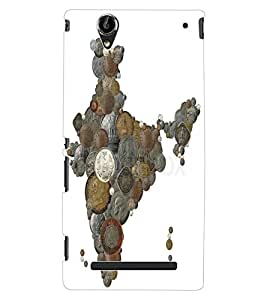 ColourCraft Indian Map made with Coins Design Back Case Cover for SONY XPERIA T2 ULTRA