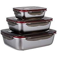 3 Pièces Récipients Alimentaires en Acier Inoxydable avec Couvercles Hermétiques Boîtes Alimentaires Empilables 600ml…