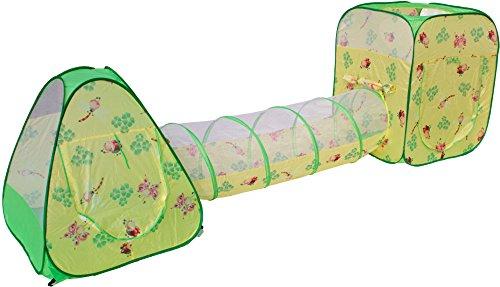 Bällebad 3in1 gelb/grün 2 Pop-Up Zelte und Verbindungstunnel mit 100 Bälle