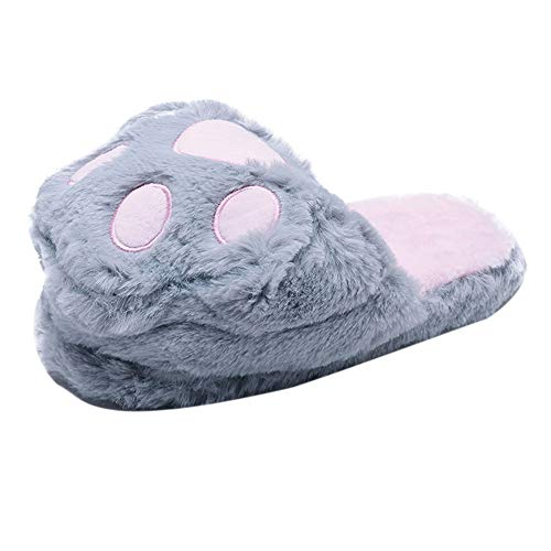 Pantofole donna,scarpe da casa,yanhoo pantofole da ciabatta da donna bear paw cute animal paw plush flip flop home shoes warm shoes