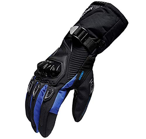 Guanti moto invernali 100% impermeabili termici, guanti scooter da sci snowboard protettivi touch screen - blu l