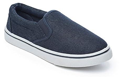 Boys Slip On Canvas Summer Shoes Pumps Trainers Plimsolls Espadrilles Deck Boat Navy Size UK 10 Infant to UK 2 (UK 13 (Infant),