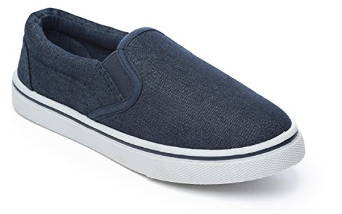 Boys Slip On Canvas Summer Shoes Pumps Trainers Plimsolls Espadrilles Deck Boat Navy Size UK 10 Infant to UK 2 (UK 1, Navy)