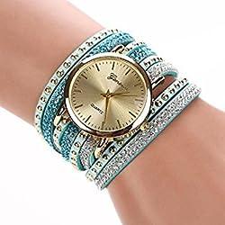 Tradico Womens Crystal Rivet Bracelet Quartz Braided Winding Wrap Analog Wristwatches
