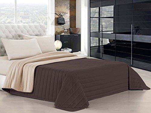 Italian bed linen elegant trapuntino matrimoniale 2 posti, marrone/panna q-el, 260 x 270 cm