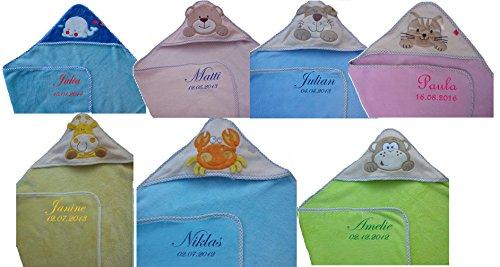 Baby Kapuzenhandtuch mit Namen bestickt Kapuzentuch Badetuch Kinder