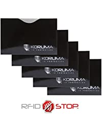 Étui protége des cartes de crédit, débit bloquant les signaux RFID / NFC, protection portefeuille Titulaire KUK-87HBLS (5 Pack)