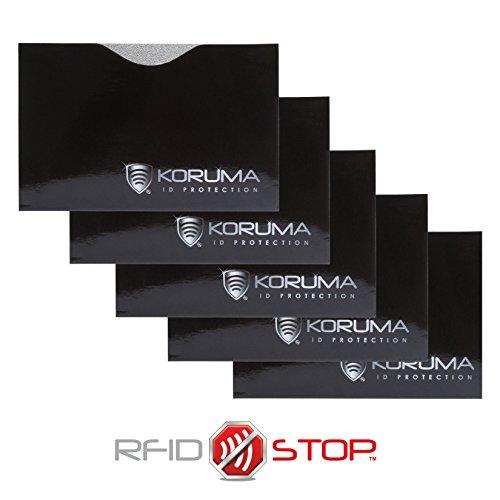 Neu KORUMA Chip RFID / NFC-Schutzhülle - TÜV zertifiziert - Packung mit 5 Stück (Schwarz/Silber Logo) (Visa-geburtstag-geschenk-karte)