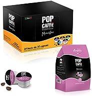 50 CAPSULE POP CAFFE' MOKA-UNO 3 ARABICO COMPATIBILI UNO SYSTEM ILLY K