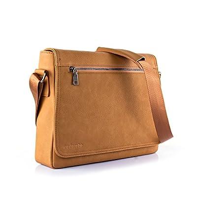 Cadorabo – Sacoche pour ordinateur portable / tablette pouces fabriquée à partir de cuir artificiel de haute qualité équipée de poches pour accessoires, d'une bandoulière et d'un compartiment pour tablette supplémentaire