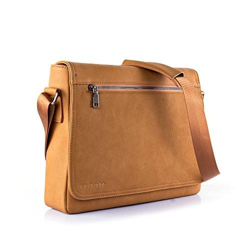 Cadorabo – Laptop / Tablet Tasche passend für 15\'\' Zoll Notebooks aus hochwertigem Kunstleder mit Zubehörfächer, Schultergurt und Tabletfach – Notebook MacBook Umhängetasche Aktentasche Tragetasche Computertasche in KARAMELL-BRAUN