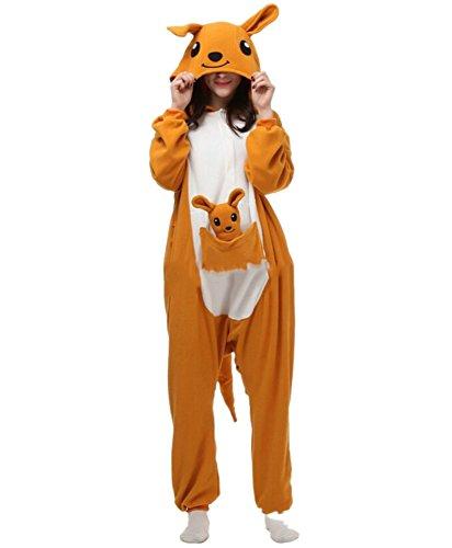 Fandecie Pyjama Tier Onesies mit Kapuze Erwachsene Unisex Cospaly Schlafanzug Halloween Kostüm Känguru Geeignet für Hohe 160-175CM