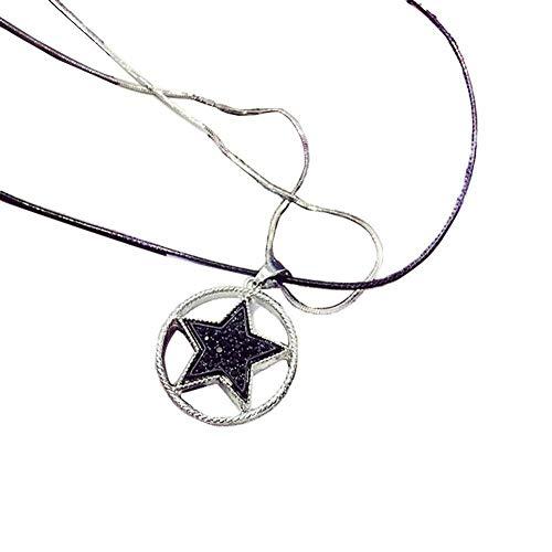 ICHQ Halskette Mode Pentagonaler Sternform Strickjacke Schmuck Anhänger Necklace Schlüsselbein Kette (A) -