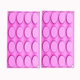 BAKER DEPOT 16 trous moule en silicone ovale pour le savon fait main, la gelée, le fouet, la bougie, la fabrication de gâteau, la décoration, les fourneaux, le jeu de 2