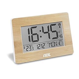 ADE Funkuhr CK 1702. Digitale Uhr mit DCF Zeitsignal, Gehäuse mit echtem Bambus, LCD-Display, Thermometer, Wecker und Kalender. Inklusive Batterie