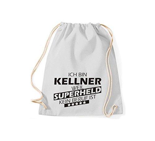 shirtstown BORSA PALESTRA Ich bin Kellner, WEIL supereroe NESSUN occupazione è - grigio, 37 cm x 46 cm Grigio Chiaro