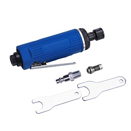 Druckluft Stabschleifer Geradschleifer Polierer Mini, 1/4 Zoll, mit 6mm und 3mm Spannzange, 25000 RPM Schleifmaschine