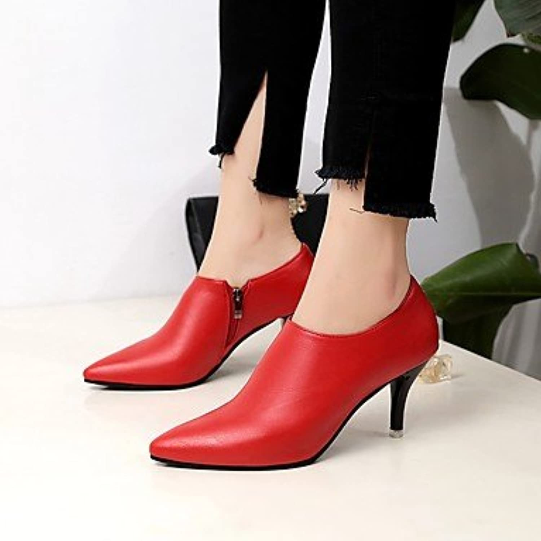 Desy botas para mujer comodidad sintética verano Casual cremallera gatito talón rojo negro 1 3-en-1 3/4in, rojo