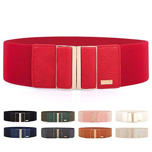 MIJIU Gürtel Elastischer für Damen Breiter Taillengürtel verstellbaren Guertel mit Legierung schnalle (Rot) - Rote Leder-shirt