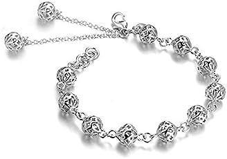 Shining Diva Fashion 925 Sterling Silver Chain Bracelet for Girls(Silver)(rrsd8340b)