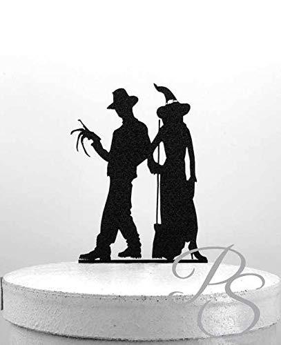 Hochzeitstorte Topper - Halloween Hochzeit Kuchen Topper, Freddy Krueger und eine Hexe Silhouette Hochzeitstorte Topper