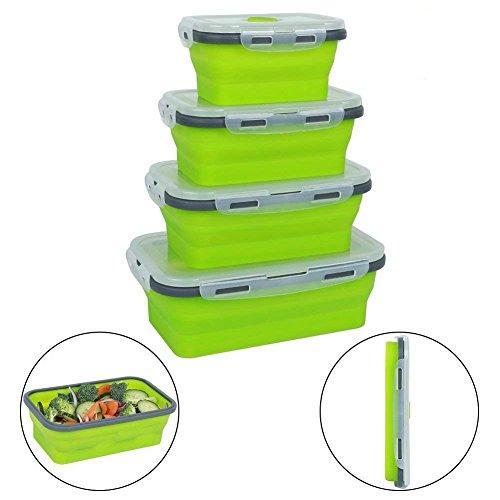 Mooyii 4 Pack Flat Stacks klappbar Frischhaltedosen, Silikon Faltbare Lunch Bento Box, Faltbare Frischhaltedosen Faltbare Silikon Brotbox Bunt Flat Stacks klappbar Frischhaltedosen Faltbare Set